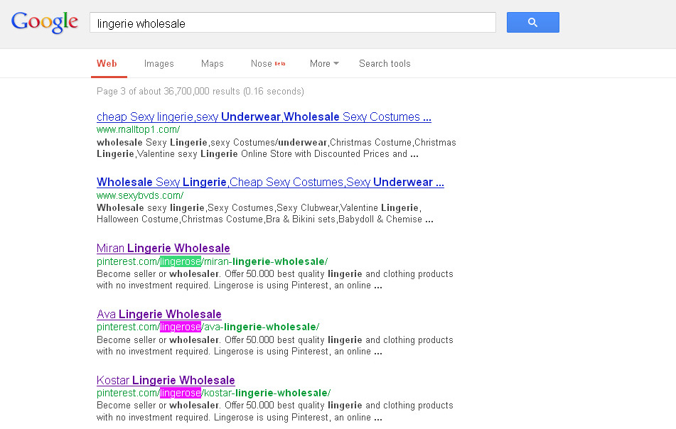 12. Lingerie Wholesale in Google 3rd page 31.03.2013