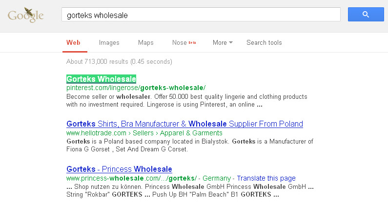22. Gorteks Wholeslae in Google