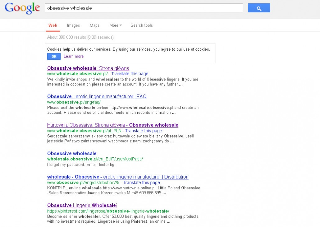 25. Obsessive wholesale in Google