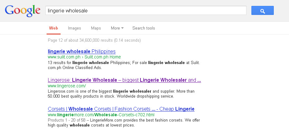 8. Lingerie Wholesale in Google Lingerose.com 112 14.03.2013